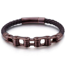 Load image into Gallery viewer, Leather Bike Chain Bracelet - Cycolinks