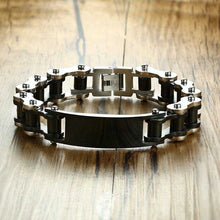 Load image into Gallery viewer, Cycolinks Personalised Gold/Gun Metal Mens Bike Bracelet - Cycolinks