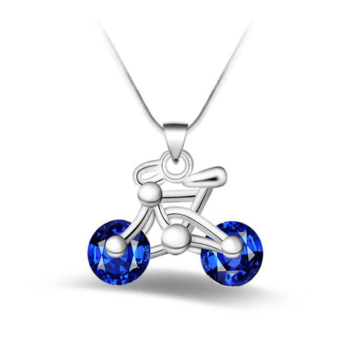 Cycolinks 925 sterling silver & Cubic Zirconia Bike Pendant Necklace - Cycolinks