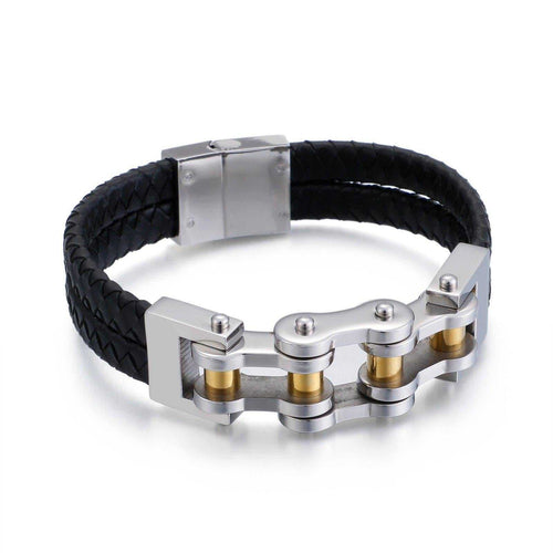 Cycolinks Magnetic Leather Bike Chain Bracelet - Cycolinks