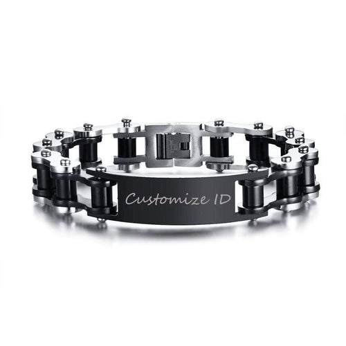 Cycolinks Personalised Gun Metal Men's Bike Bracelet - Cycolinks