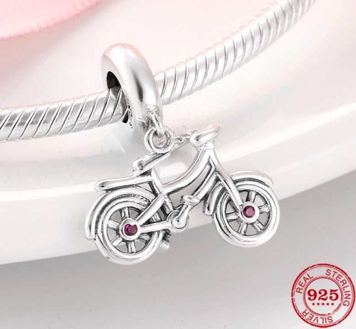 Cycolinks 925 Sterling Silver Bicycle Pink CZ Gems
