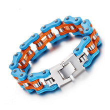 Load image into Gallery viewer, Cycolinks Blue Orange Bike Chain Bracelet - Cycolinks