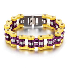 Load image into Gallery viewer, Cycolinks Yellow Purple Bike Chain Bracelet - Cycolinks