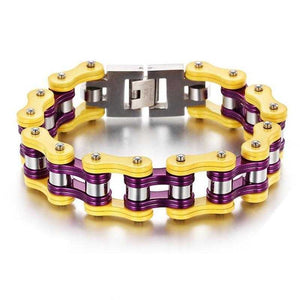 Cycolinks Yellow Purple Bike Chain Bracelet - Cycolinks
