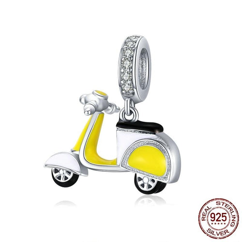 Cycolinks 925 Sterling Silver Yellow Mod Motorbike Charm - Cycolinks