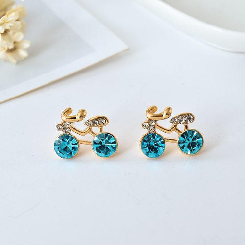 Cycolinks Golden Crystal Stud Bike Earrings - Cycolinks
