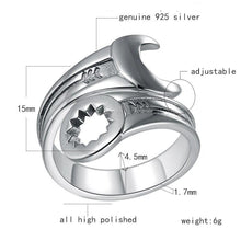 Load image into Gallery viewer, Cycolinks 925 Sterling Silver Wrench Ring Re-sizeable Size - Cycolinks