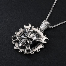 Load image into Gallery viewer, Cycolinks Ring Skull & Spanners Pendant Necklace - Cycolinks