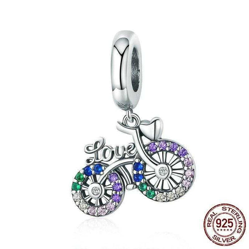 Cycolinks 925 Sterling Silver Crystal Love Bicycle Pendant Charm - Cycolinks