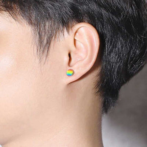 Cycolinks Pride Rainbow Stud Silver Earrings - Cycolinks