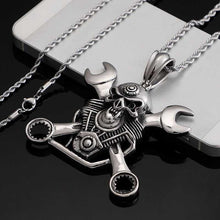 Load image into Gallery viewer, Cycolinks Engine Skull & Spanners Necklace - Cycolinks