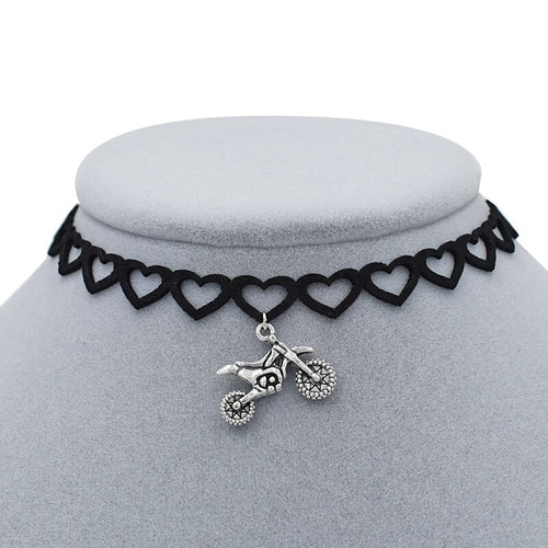 Cycolinks Heart Choker Motorbike Necklace - Cycolinks