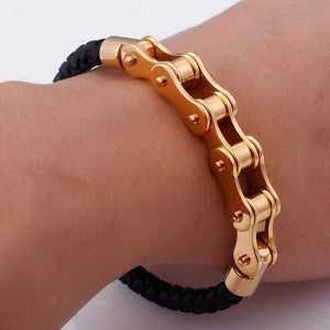 Leather Bike Chain Bracelet - Cycolinks