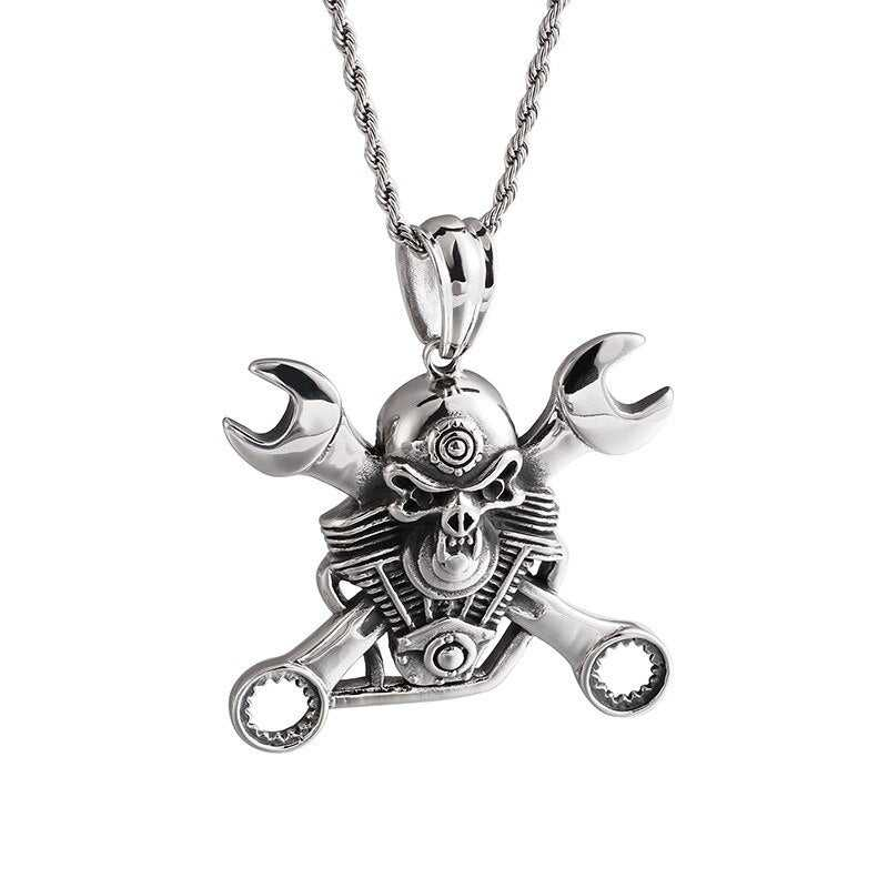 Cycolinks Engine Skull & Spanners Necklace - Cycolinks