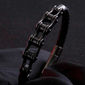 Vintage Style Leather Bike Chain Bracelet - Cycolinks