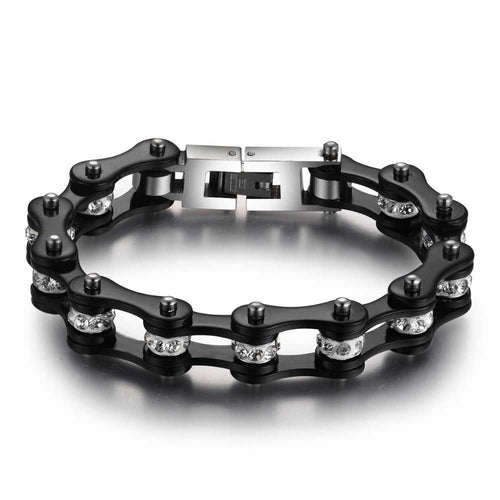 Cycolinks Black Crystal Bike Chain Bracelet - Cycolinks