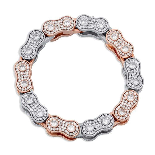 Cycolinks Bling 15mm Fully Covered in Cubic Zirconia Bike Chain Bracelet - Cycolinks