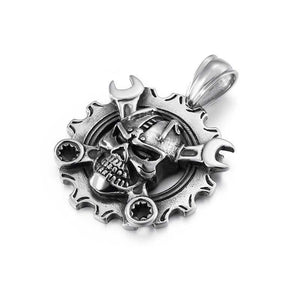 Cycolinks Ring Skull & Spanners Pendant Necklace - Cycolinks