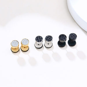 Cycolinks Stainless Steel Carbon Fiber Stud Earrings - Cycolinks