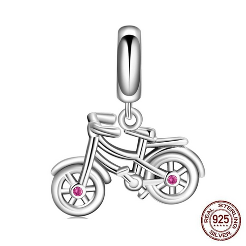 Cycolinks 925 Sterling Silver Bicycle Pink CZ Gems Charm - Cycolinks