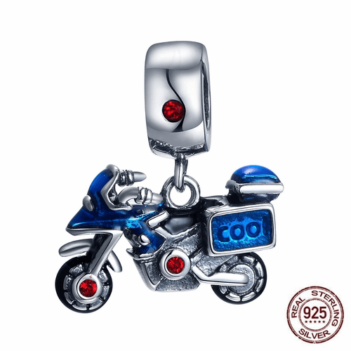 Cycolinks 925 Sterling Silver & Zircon Motorbike Bike Charm - Cycolinks