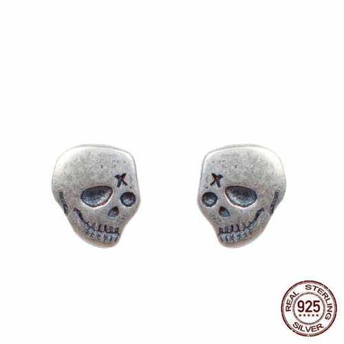 Cycolinks 925 Sterling Silver Punk Skull Earrings - Cycolinks