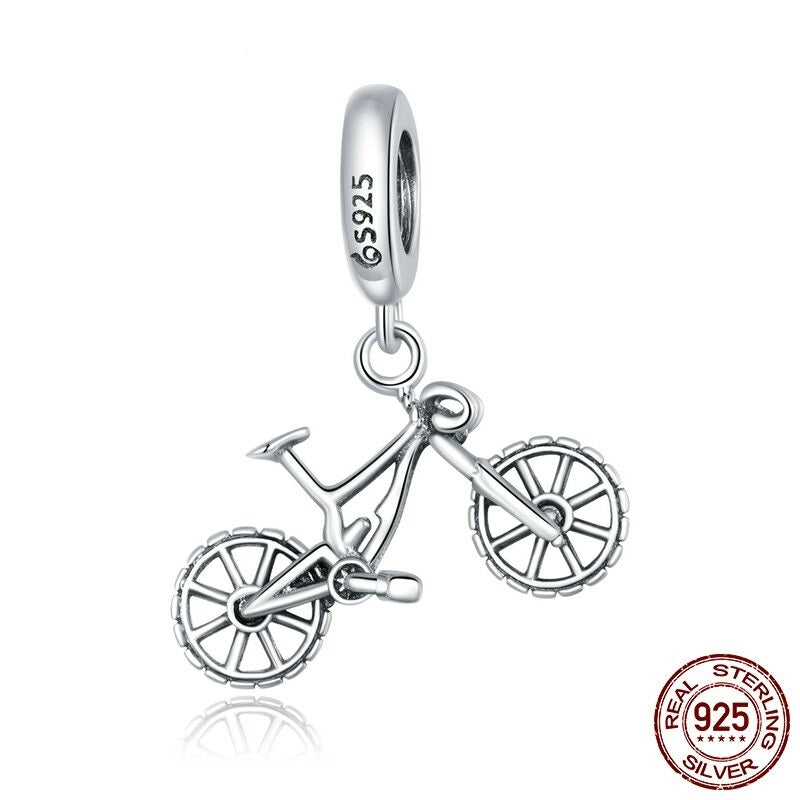 Cycolinks 925 Sterling Silver Mountain Bike Pendant Charm - Cycolinks