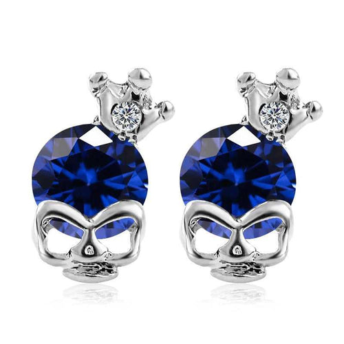 Cycolinks Skull Crown Zirconia Earrings - Cycolinks
