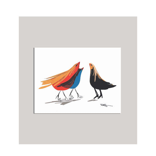 An all occasion greeting card featuring a beautiful multi-color bird trio with abstract design. A card with