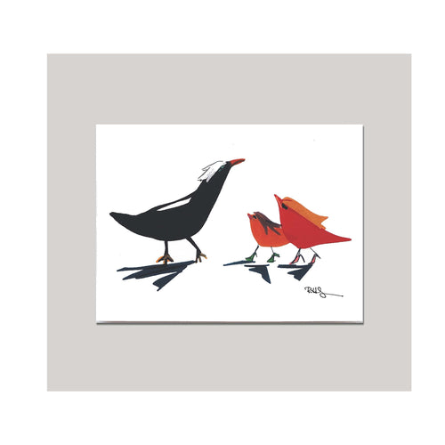 An all occasion greeting card featuring a beautiful multi-color bird trio with abstract design. A perfect card to say