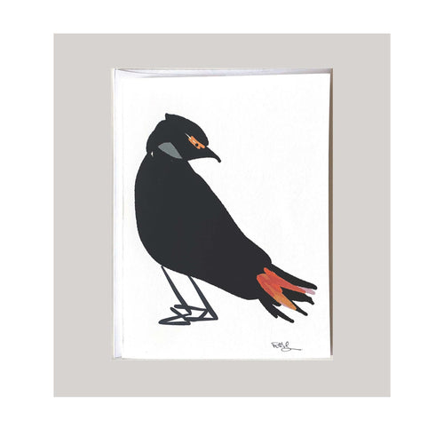 An all occasion greeting card featuring a beautiful bird with abstract design. An