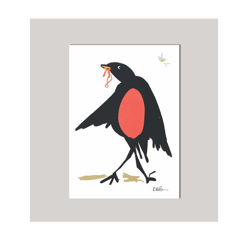 An all occasion greeting card featuring a beautiful multi-color bird trio with abstract design. A silly