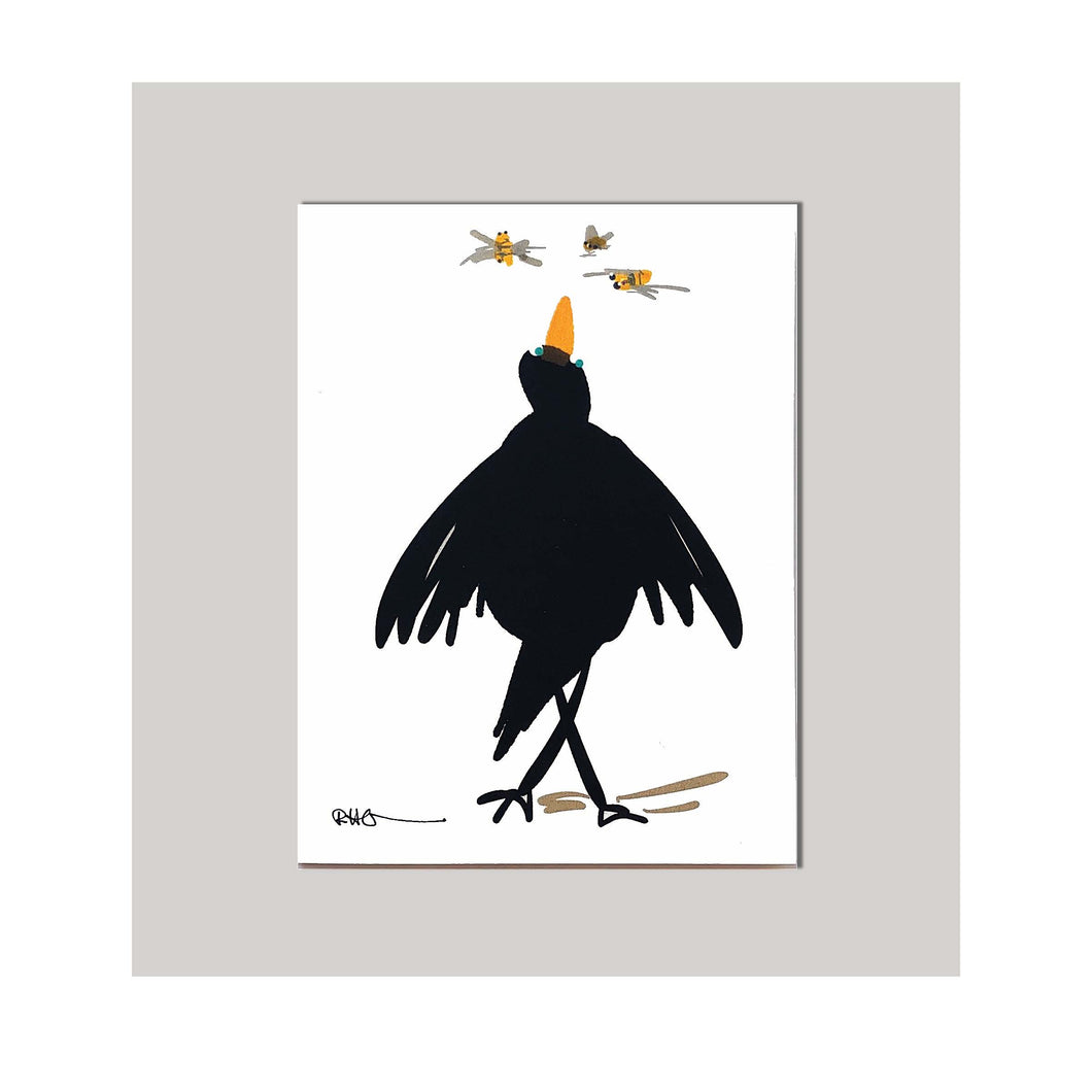 An all occasion greeting card featuring a beautiful bird and bug duo abstract design. A curious