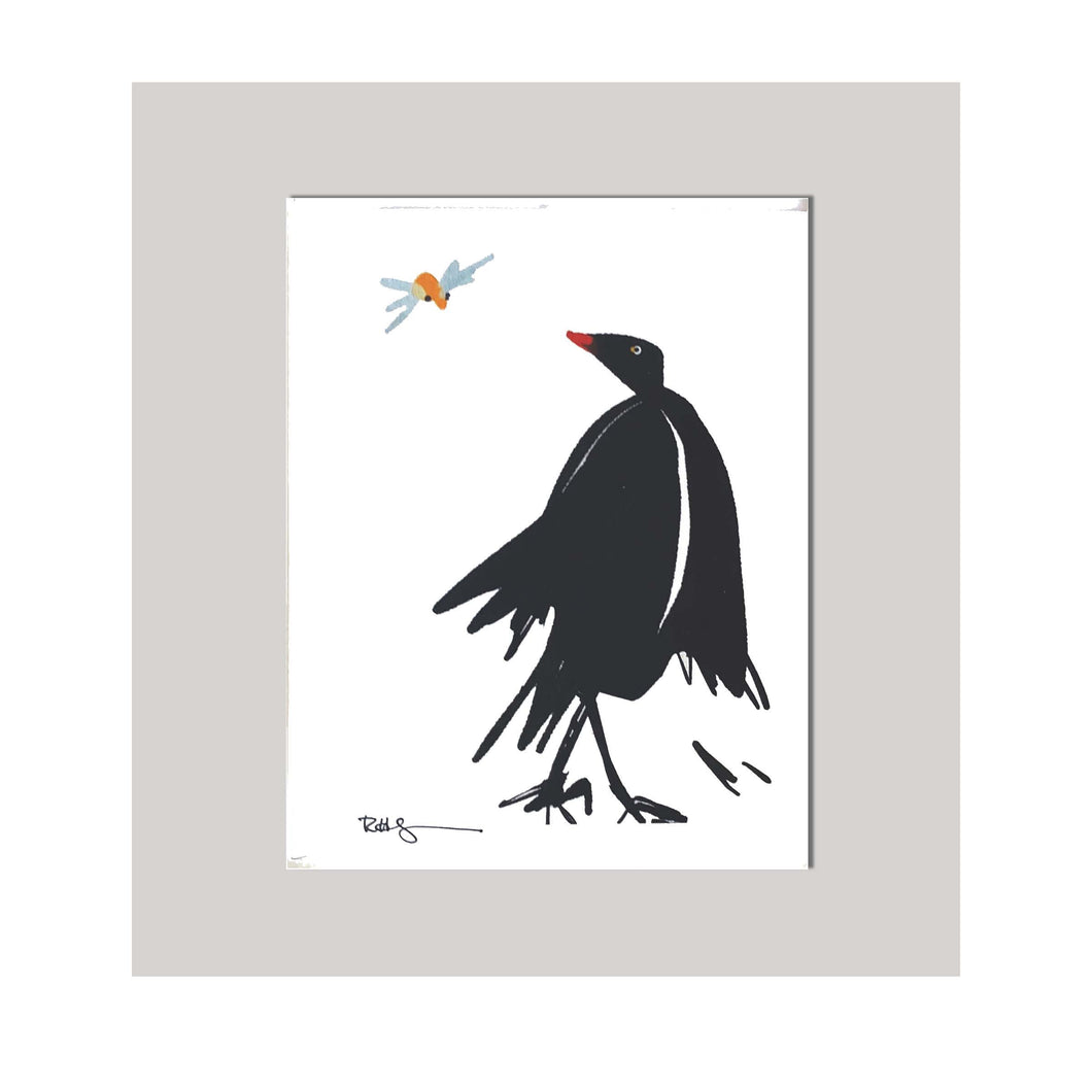 An all occasion greeting card featuring a beautiful bird and bug duo with abstract design. A curious