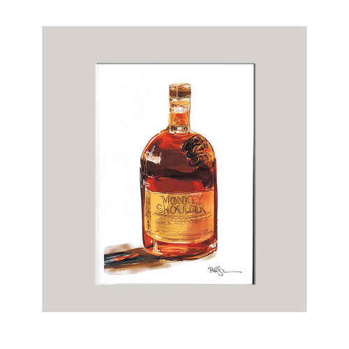 An all occasion greeting card featuring a beautiful whiskey bottle with abstract design. The perfect card for that someone with a