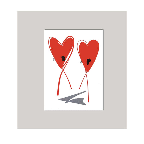 An all occasion greeting card featuring a beautiful heart duo abstract design. An