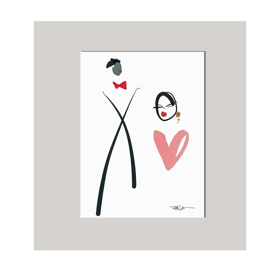 An all occasion greeting card featuring a beautiful couple in abstract design. Card to say Card to say