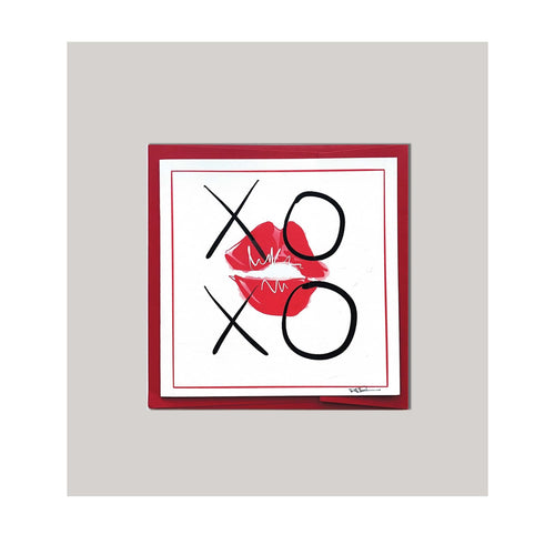 An all occasion greeting card featuring a beautiful hugs & kisses xoxo and lips in abstract design .Card to send