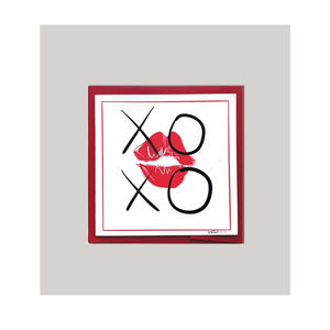 "An all occasion greeting card featuring a beautiful hugs & kisses xoxo and lips in abstract design .Card to send ""Hugs & Kisses""...perfect for any occasion! Sqaure card required xtra postage. 4"" x 5.5"" - note card. Black Red Multi-Color Love Birds Whimsical Celebration Card Greeting Card Special Occasion Card Cute Card Artistic Card Happy Card Digital Design Graphic Design Card."