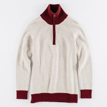 Load image into Gallery viewer, 1/4-Zip 3-Ply Sweater - Oatmeal / Dark Red