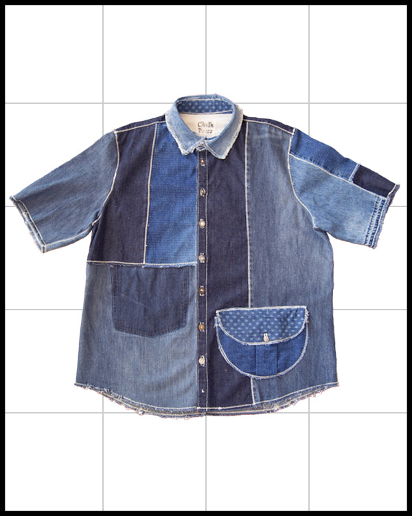 Reconstruct Denim Short Sleeve Button Up Shirt
