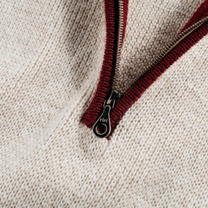 1/4-Zip 3-Ply Sweater - Oatmeal / Dark Red