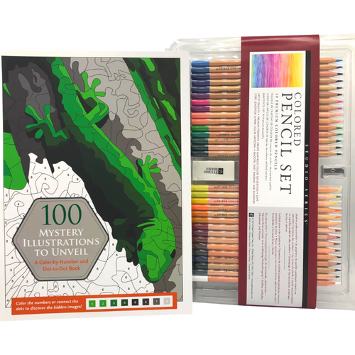 100 Mystery Illustrations to Unveil and Colored Pencil Set