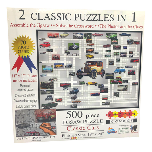 2 Classic Puzzles in 1 - Classic Cars by SunsOut (500 Pieces)
