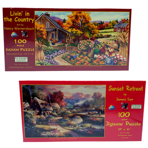 Two 100-Piece Jigsaw Puzzles by SunsOut