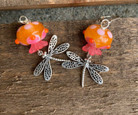 Flower and dragonfly earrings