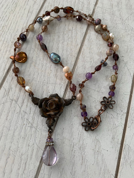 Rustic rose necklace