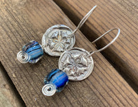 Sand dollar glass earrings