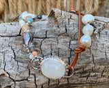 Moonstone and Leather Bracelet